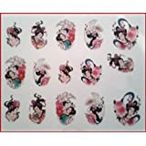 Geisha Oriental Nail Art Stickers Water Transfer Decals *BUY 1 GET 1 FREE*