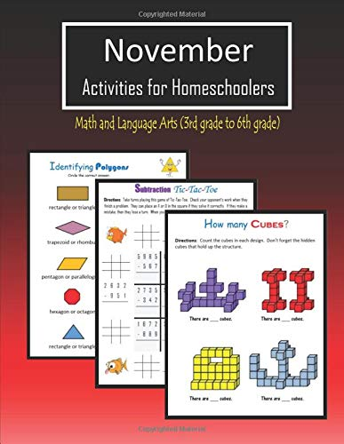 November Activities for Homeschoolers: Math and Language arts (3rd grade to 6th grade)