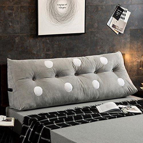 MMM- Coussin de canapé de lit de chevet de coton de coussin de lit de grand lit de double ( Couleur : Gris , taille : 150*22*50cm )