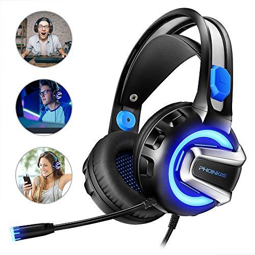 Gaming Headset, Romanda PS4 Xbox One Headset Gaming Kopfhörer mit Mikrofon, LED Licht Bass Surround Noise Cancelling Gamer Headset für PS4, Xbox One, Computer Laptop, Mac, Tablet, One PC, Smartphone (Position Ohrenschützer)