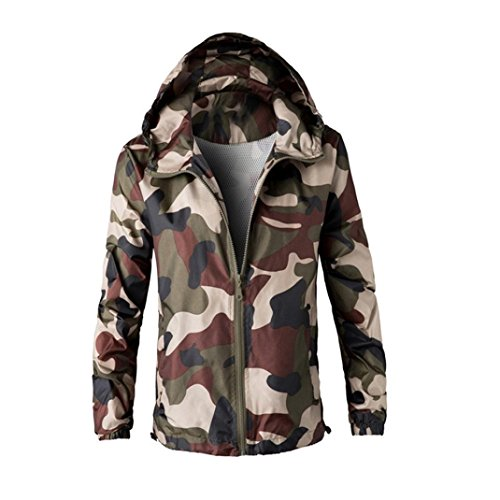 Internet Men Coat Jacket Outwear Green Camouflage Hoodie Hooded Sweatshirt (M, Army Green)