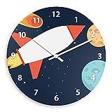 Wanduhr mit Weltall-Motiv mit Rakete für Jungen | Kinderzimmer-Uhr | Kinder-Uhr