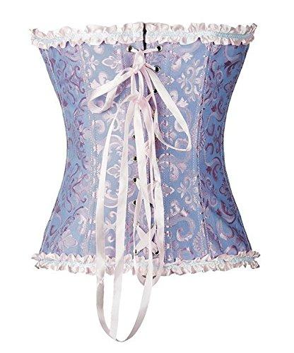 PhilaeEC Frauen Bridal Wäsche schnürt sich oben Satin ohne Knochen Korsett mit G-Schnur Blau