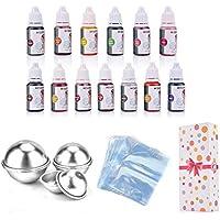 AUSHEN - Juego de moldes para bombas de baño de 13 colores para colorear jabón y jabón para hacer jabón y bombas de baño, set de regalo Dyes & Molds