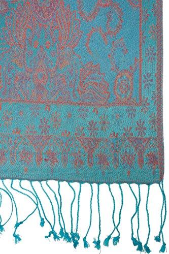 Foulard traditionel en soie d'Inde, Paisley, 160x35 cm - 100% soie rouge 2