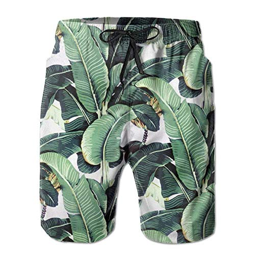 Personality Beach Pants Shorts Men's Martinique Banana Leaf Fashion Beach Pant Tide Stamp Shorts (Short Sleeve Swim Cover Up)
