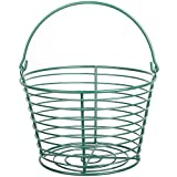 CrazyGadget® Country Farm Stye Strong Colour Metal Wire Egg Holder Stand Basket with Handle - Holds More Than 24 Eggs (Dark Green)