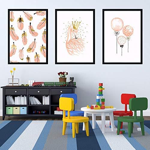 XWArtpic Cartoon Nettes Mädchen Schlafzimmer Dekoration Rosa Flamingo Feder wandkunst leinwand Poster Bild Kinderzimmer leinwand malerei 30 * 40 cm