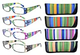 Eyekepper 4-Pack Striped Temples Spring Hinge Reading Glasses +2.0
