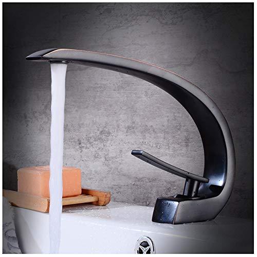 Moderne Badezimmer Schiff Waschbecken Wasserhahn Lange Gebogene Auslauf Einhand Kupfer Vanity Wasserhahn,Versorgung Mit Warmem Und Kaltem Wasser -