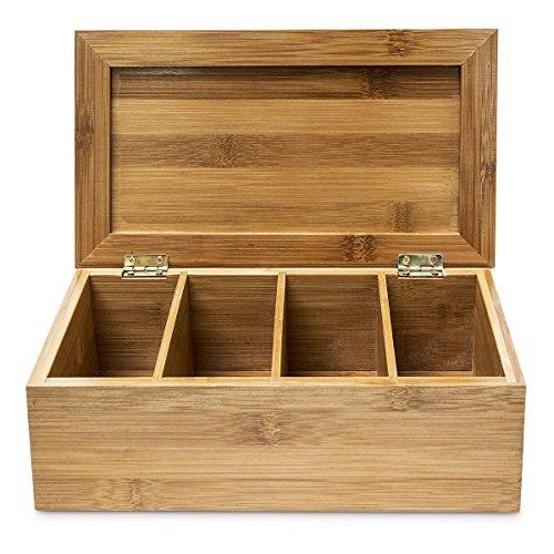 Relaxdays Teebox HBT: 9 x 28,5 x 16 cm Teekiste aus Bambus mit aufklappbarem Deckel Teedose mit 4 Fächern für circa 80 Teebeutel als Teebeutelbox und Schmuckkästchen aus Holz kein Aromaverlust, natur - 5