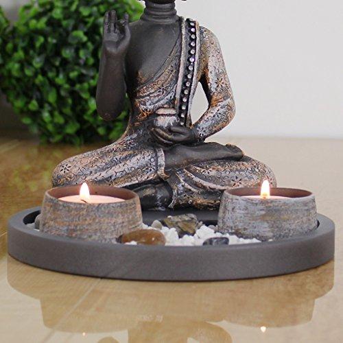 Buddha Sitzend mit Teelicht Deko-Statue - 3