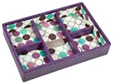 Purple 5 Section Mini Stacker With Polka Dot Lining