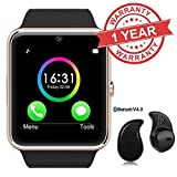Captcha Bluetooth Smart Watch GT08 Phone With Camera and Sim Card & SD Card Support with S530 Mini Bluetooth headset Amazon deals