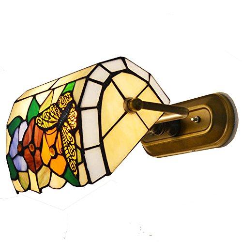 Schmetterling Blume gebeizt Glas Schlafzimmer Nachttische Wand Lampen Tiffany Metall Flur Flur Veranda Wand Lampen Spiegel Vorne Lampen mit Schnurschalter