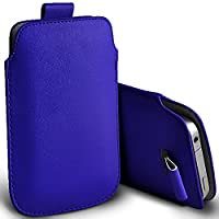 ( Blue 145 x 71mm ) Pouch case for Bush E4X case Premium Stylish Faux Leather Pull Tab Pouch Skin case cover Various Colours To Choose From Bush E4X case by i-Tronixs