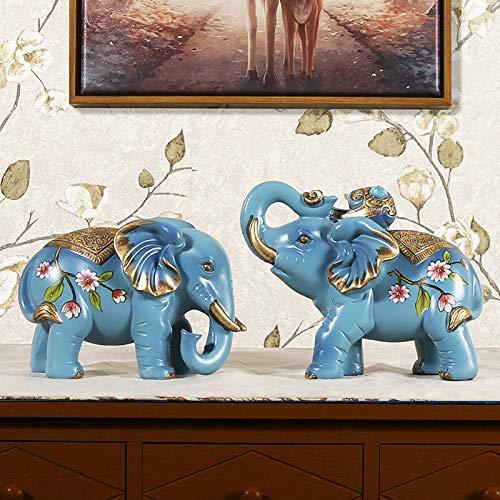 SQbjshaop Dekoration Kreatives Geschäft, Heimwohnzimmer, Trick, Feng Shui, Elefantendekoration, EIN Paar Porträts, kleines Schmuckhandwerk und Dekorationen, Die allmähliche Blaue Trompete ist wie Ei