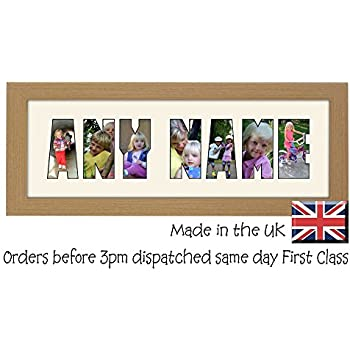 personalised create your own custom 3 to 8 letters light oak wood finish photo frame name frame word frame birthday picture gift present by photos in a word - Word Frame