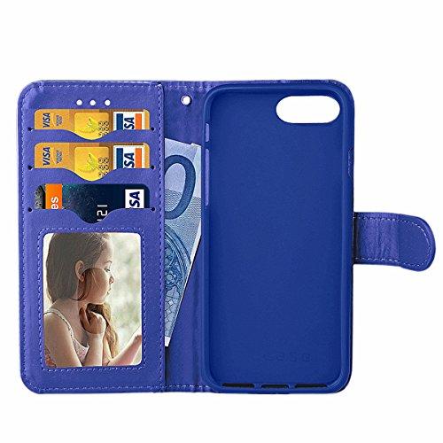 iPhone 7 Plus PU Lederhülle Tasche,iPhone 7 Plus Hülle Case,Ekakashop iPhone 7 Plus Bookstyle Flip Schale Weichen Silikon Schutzhülle Klapptasche Etui,Retro Rosa Glitzer Muster Handy Hülle Tasche Prot Tiefes Blau Perle Rahmen