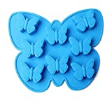Drawihi Schmetterlinge Kuchenform Silikon Eiswürfel Schokoladen Kuchen Silikonformen Pralinen Backform (Blau) 21*15*2 cm