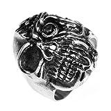 Adisaer Ringe Silber Antik Männer Ringe Schwarz Silber Bar Punk Schädel Toten Kopf Teufel Ringgröße 62 (19.7) Gothic Retro Vintage Neue Jahr Ringe Für Sohn
