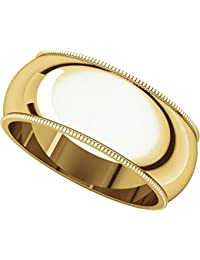 14ct Yellow Gold, Milgrain Wedding Band 8MM (sz H to Z5)