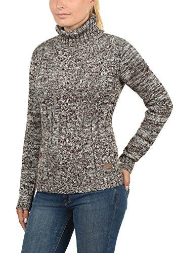 DESIRES Philipa Damen Strickpullover Zopfstrick mit Rollkragen aus hochwertiger 100% Baumwolle Meliert Coffee Bean (5973)