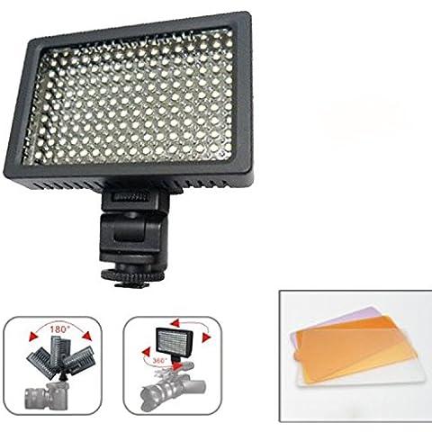 9,6 w DV Video HD-160 DSLR cámara Flash LED luces iluminación filtro para cámara Sony Canon