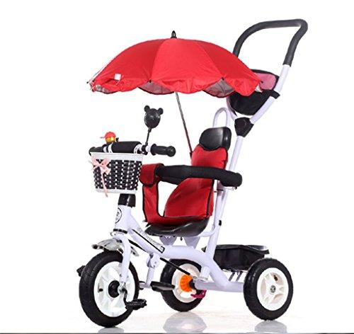 Chariots de tricycle pour enfants Carrières pour bébés Bicyclettes pour enfants 3 roues, WhiteBike (Garçon / fille, 1-3-5 ans)