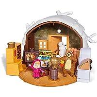 Simba - 109301023 - Masha & Michka - Hutte de Masha Hiver + 2 Figurines et 1 Bonhomme de Neige