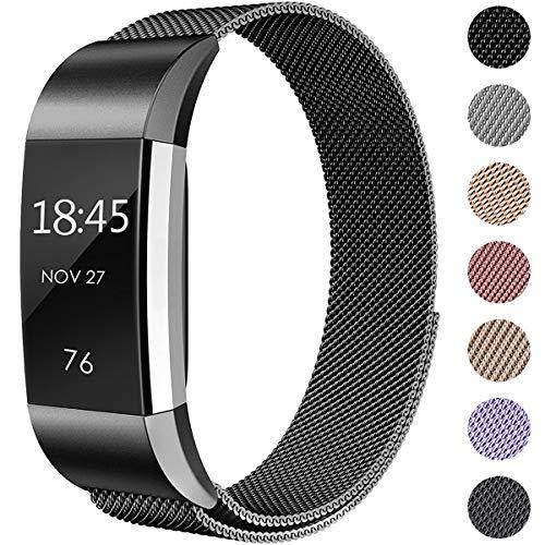 Hamile Kompatibel für Fitbit Charge 2 Armband, Metall Armband, Edelstahl Sport Ersatzarmband für Fitbit Charge 2 Fitness Tracker, Groß Schwarz (Metall-armband)