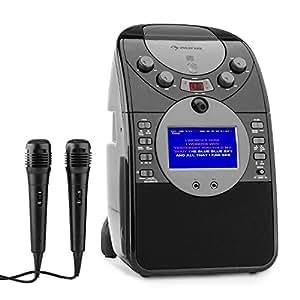 Auna ScreenStar Équipement de karaoké avec caméra et micros (Lecteur CD, USB, SD, MP3, dont 2x micros, système son écran TFT, haut-parleur large bande, apte CD + G avec sous-titres, enregistreur vidéo et audio)