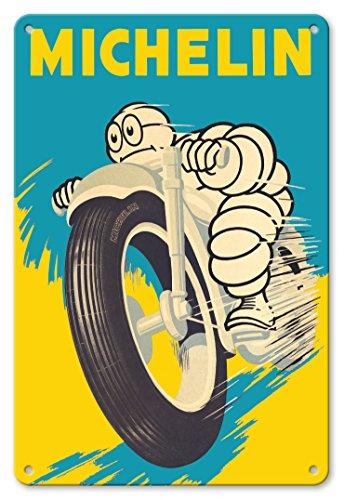 Pacifica Island Art Michelin Bibendum (uomo)–moto pneumatici–Poster pubblicitario vintage c.1959–Stampa artistica 8in x 12in Tin Sign