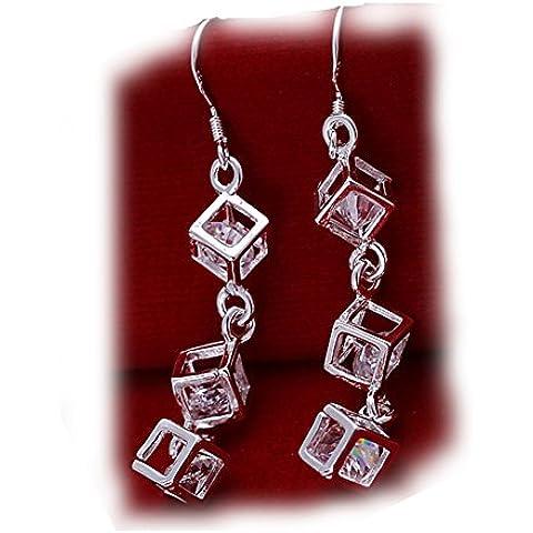 Aretes de cubic zirconio de plata Pendientes Zircoia DangleDrop cúbico cristalino austríaco plateado Plaza Zirconia diamantes Checa para la Mujer ...