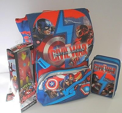 ZAINO 3IN1 SCHOOLPACK CAPTAIN AMERICA CIVIL WAR + ASTUCCIO 3 ZIP + ACTION FIGURE