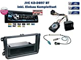 NIQ Autoradio Einbauset inkl. JVC KD-DB97BT (DAB+) und Lenkrad Fernbedienung Adapter geeignet für VW Golf/EOS/Passat UVM.