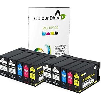 10 (2 Set+ 2 Noir) Colour Direct Compatible PGI-1500XL Cartouche d'encres Remplacement Pour Canon MAXIFY MB2050, MB2150, MB2155, MB2350, MB2750, MB2755 imprimantes.