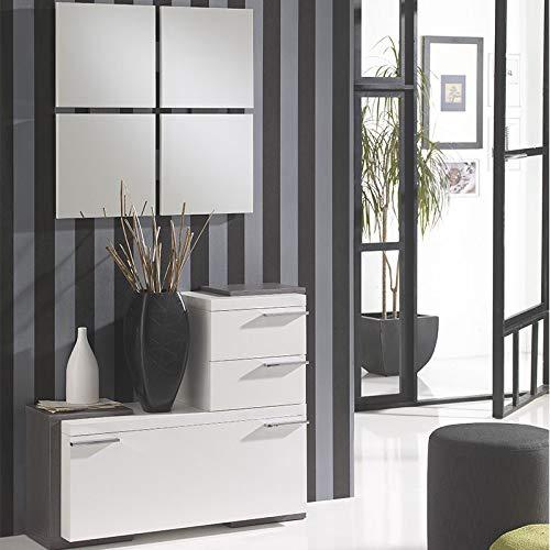 M-020 scarpiera specchio bianco colore legno grigio antiga
