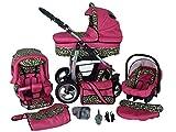 Chilly Kids Dino 3 in 1 Kinderwagen Set (Autosit & Adapter, Regenschutz, Moskitonetz, Schwenkräder) 17 Pink & Leopard