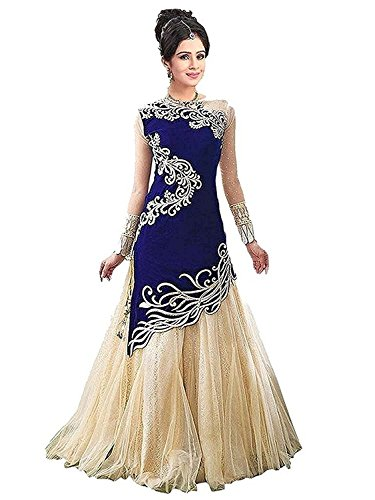 Riyan Enterprise Blue and Cream Color Latest Designer Party Wear, Traditional Fabric...