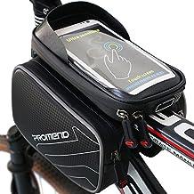 Borsa Bicicletta Impermeabile, XBoze MTB BMX Borsa Telaio Bici Tubo Telaio Doppio Sacchetto Bici Supporto del Telefono con Touch Screen per 6,2 Pollici Smartphone (Nero)