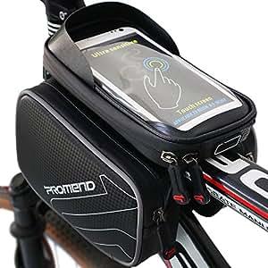 Xboze donne, uomini, Rider zxc-002telaio bici ciclo, top bag tubo doppio sacchetto impermeabile Pannier rimovibile con touch screen del telefono per smartphone sotto 15,7cm (nero), 7