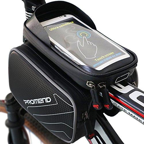 XBoze Fahrradtasche Rahmentaschen Wasserdicht, Fahrrad Handy Tasche mit Abnehmbar Handytasche (Passend bis zu 6,2 Zoll) Radfahren Vorne Top Tube Rahmen Doppel Pouch für Mountain Bike (Schwarz)