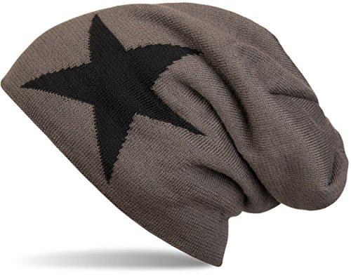 styleBREAKER warme klassische Strick Beanie Mütze mit Stern und sehr weichem Innenfutter, Unisex 04024026, Farbe:Dunkelgrau