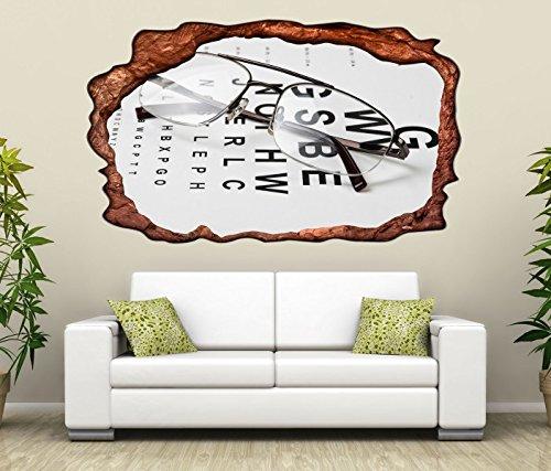 3D Wandtattoo Arzt Auge Augenarzt Brille Test Beruf selbstklebend Wandbild Tattoo Wohnzimmer Wand Aufkleber 11L377, Wandbild Größe F:ca. 97cmx57cm