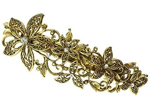 5333 10cm Antique gilt crystal filligree flower barrette hair clip