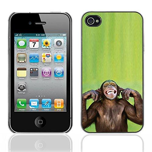 Graphic4You Lustig Niedlich Affe Tier Design Harte Hülle Case Tasche Schutzhülle für Apple iPhone 4 und 4S Design #6