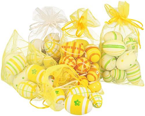 Com-four® 64 uova di pasqua di varie dimensioni, colorate decorazioni pasquali con gancio di nastro di seta [selezione varia] (64 pezzi - in una borsa di stoffa)