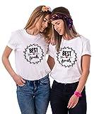 Best Friends T-Shirts für Zwei Damen Mädchen Freundin BFF Freunde Freund Tshirt mit Aufdruck Pfeil Herz 2 Stücke Tops Sommer Frau Oberteil(Weiß+Weiß-S+M)