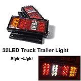 Romsion 2 Stück/Set Auto Teile 12 V Rückleuchten Warnleuchte 32 LED für Anhänger LKW Metall Mesh Rücklicht